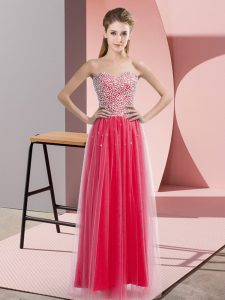 Fine Sweetheart Sleeveless Prom Evening Gown Floor Length Beading Coral Red Tulle