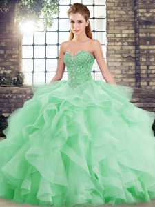 Amazing Green Vestidos de Quinceanera Military Ball and Sweet 16 and Quinceanera with Beading and Ruffles Sweetheart Sleeveless Brush Train Lace Up
