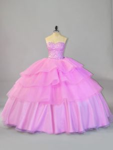 Lilac Organza Lace Up Sweetheart Sleeveless Floor Length Quince Ball Gowns Ruffled Layers
