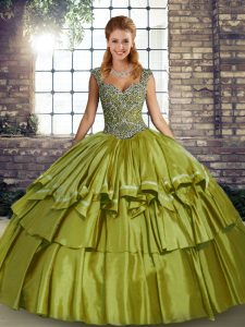 Olive Green Sleeveless Taffeta Lace Up Sweet 16 Dress for Military Ball and Sweet 16 and Quinceanera