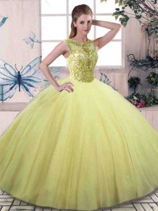 Modest Ball Gowns Quinceanera Dress Yellow Green Scoop Tulle Sleeveless Floor Length Lace Up