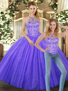 Lavender Two Pieces Tulle Halter Top Sleeveless Beading Floor Length Lace Up Quinceanera Dresses