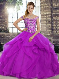 Tulle Sleeveless Quinceanera Gown Brush Train and Beading and Ruffles