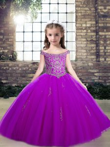 Off The Shoulder Sleeveless Lace Up Pageant Dress for Girls Purple Tulle