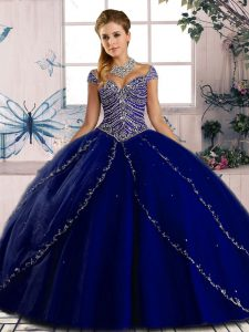 Sweetheart Cap Sleeves Brush Train Lace Up Sweet 16 Quinceanera Dress Royal Blue Tulle