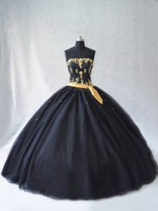 Cheap Floor Length Black Sweet 16 Dresses Strapless Sleeveless Lace Up
