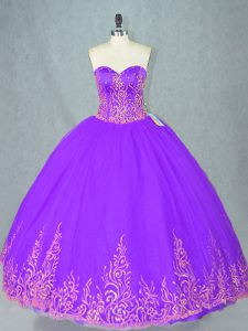 Eye-catching Purple Ball Gowns Sweetheart Sleeveless Tulle Floor Length Lace Up Beading Vestidos de Quinceanera