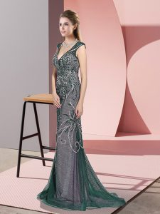 V-neck Sleeveless Sweep Train Zipper Dress for Prom Peacock Green Tulle