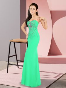 Luxury Turquoise Zipper Prom Dress Beading Sleeveless Floor Length