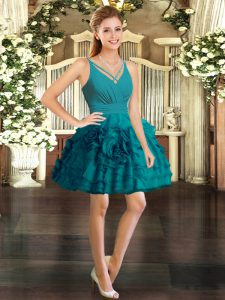 Sumptuous Mini Length Ball Gowns Sleeveless Teal Homecoming Gowns Backless