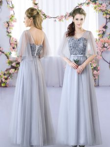Pretty Grey Empire V-neck Sleeveless Tulle Floor Length Lace Up Appliques Quinceanera Dama Dress