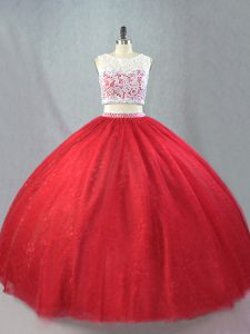 Red Scoop Neckline Beading and Appliques Sweet 16 Quinceanera Dress Sleeveless Zipper