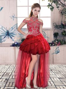 Luxury High Low Red Prom Party Dress Halter Top Sleeveless Lace Up