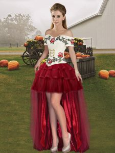 Wine Red Sleeveless High Low Embroidery and Ruffled Layers Lace Up Dress for Prom