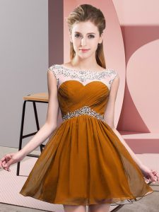 Brown Backless Prom Dress Beading and Ruching Sleeveless Mini Length