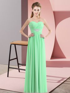 Sleeveless Floor Length Beading Zipper Homecoming Dress with Apple Green