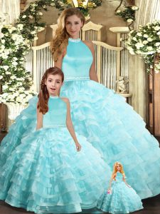 Flare Aqua Blue Organza Backless Halter Top Sleeveless Floor Length Quinceanera Gown Beading and Ruffled Layers