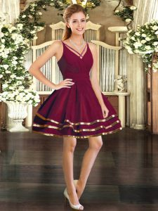 Burgundy V-neck Neckline Ruffled Layers Evening Dress Long Sleeves Backless