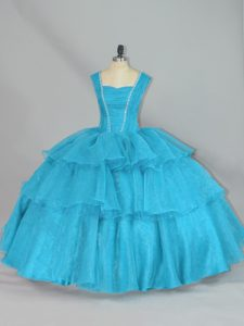 Aqua Blue Organza Lace Up Quinceanera Dresses Sleeveless Floor Length Beading and Ruffled Layers
