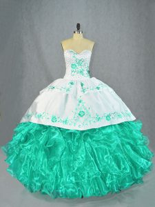 Organza Sleeveless Floor Length Sweet 16 Dresses and Embroidery and Ruffles