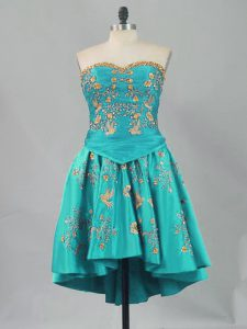 Turquoise Sweetheart Lace Up Embroidery Homecoming Dress Online Sleeveless