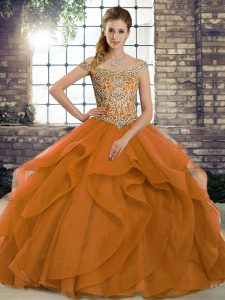 Artistic Orange Ball Gown Prom Dress Military Ball and Sweet 16 and Quinceanera with Beading and Ruffles Off The Shoulder Sleeveless Brush Train Lace Up