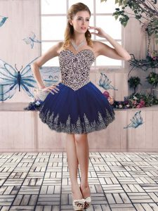 Great Royal Blue Tulle Lace Up Sweetheart Sleeveless Mini Length Beading and Embroidery