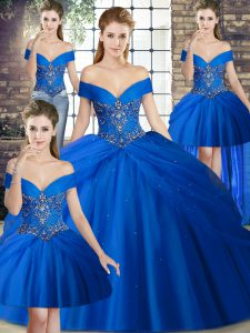 Hot Selling Beading and Pick Ups 15 Quinceanera Dress Royal Blue Lace Up Sleeveless Brush Train