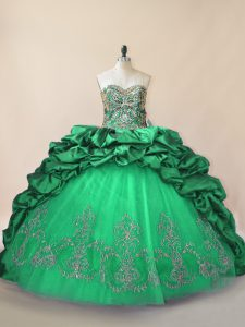Admirable Tulle Sweetheart Sleeveless Brush Train Lace Up Beading and Pick Ups Quinceanera Gown in Green