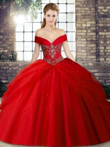 Red Ball Gowns Beading and Pick Ups Vestidos de Quinceanera Lace Up Tulle Sleeveless