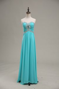 Charming Aqua Blue Sleeveless Beading and Ruching Floor Length Runway Inspired Dress