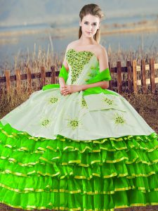 Discount Floor Length Green Vestidos de Quinceanera Organza Sleeveless Beading and Ruffled Layers