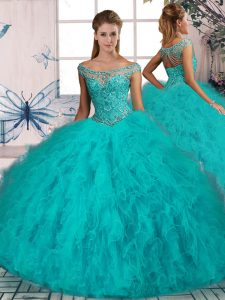 Decent Aqua Blue Lace Up Off The Shoulder Beading and Ruffles Ball Gown Prom Dress Tulle Sleeveless Brush Train