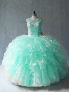 Floor Length Lace Up Quinceanera Dress Apple Green for Sweet 16 and Quinceanera with Beading and Ruffles