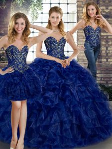 Sumptuous Royal Blue Three Pieces Organza Sweetheart Sleeveless Beading and Ruffles Floor Length Lace Up Sweet 16 Dresses