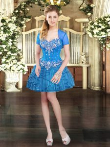 Blue Sleeveless Mini Length Beading and Ruffles Lace Up Prom Evening Gown