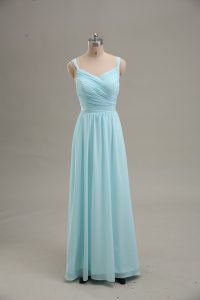 Blue Zipper Straps Ruching Prom Evening Gown Chiffon Sleeveless