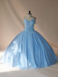 Fine Blue and Light Blue Lace Up V-neck Beading Sweet 16 Quinceanera Dress Tulle Sleeveless Brush Train