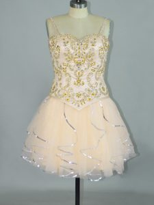 Traditional Tulle Spaghetti Straps Sleeveless Lace Up Beading and Ruffles in Champagne