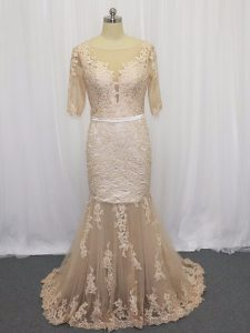 Backless Dress for Prom Champagne for Prom and Party and Military Ball with Lace and Appliques Brush Train