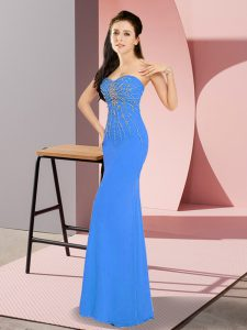 Beading Prom Gown Blue Zipper Sleeveless Floor Length