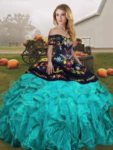 Ideal Sleeveless Lace Up Floor Length Embroidery and Ruffles Vestidos de Quinceanera