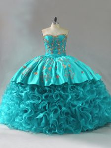 Perfect Aqua Blue Ball Gowns Embroidery and Ruffles Quinceanera Gowns Lace Up Fabric With Rolling Flowers Sleeveless
