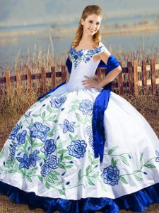 Elegant Blue And White Ball Gowns Embroidery and Ruffles Sweet 16 Dresses Lace Up Satin and Organza Sleeveless Floor Length