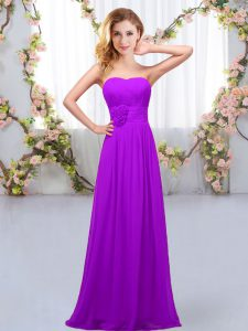 Low Price Purple Sleeveless Hand Made Flower Floor Length Court Dresses for Sweet 16