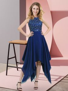 Glittering Royal Blue Empire High-neck Sleeveless Chiffon Asymmetrical Zipper Beading and Sequins Evening Dress