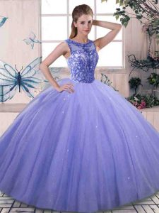 Extravagant Lavender Scoop Lace Up Beading Quince Ball Gowns Sleeveless
