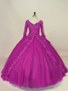Fuchsia Lace Up V-neck Lace and Appliques 15th Birthday Dress Tulle Long Sleeves