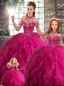 Fuchsia Halter Top Neckline Beading and Ruffles Vestidos de Quinceanera Sleeveless Lace Up