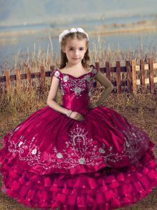 Fuchsia Ball Gowns Off The Shoulder Sleeveless Satin and Organza Floor Length Lace Up Embroidery and Ruffled Layers Custom Made Pageant Dress
